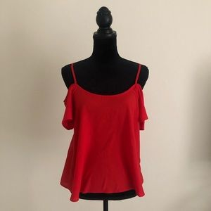 Red Off-the-Shoulder Blouse